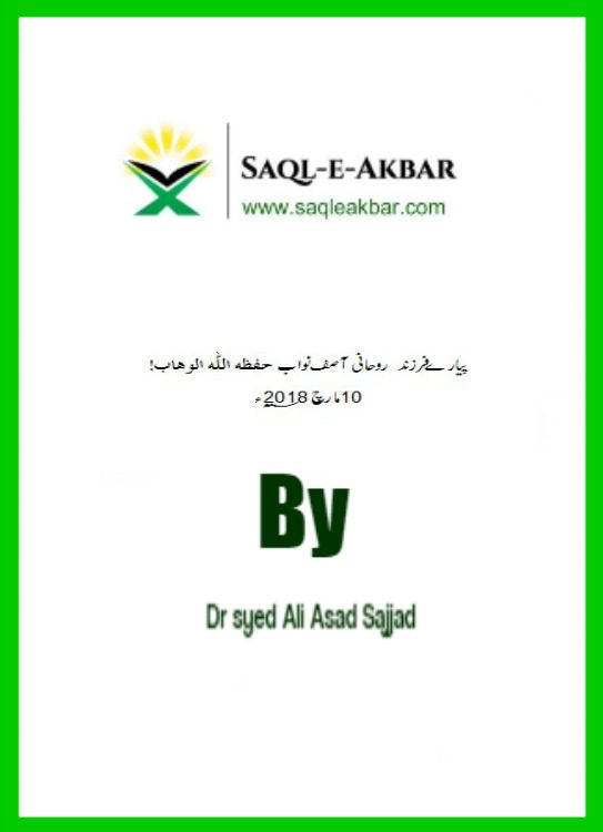Dr Syed Ali Asad to Asif Nawab Letter